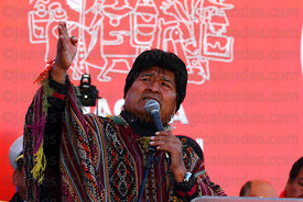 Bolivian president Evo Morales speaks during the Red Line cable car inauguration ceremony, La Paz, Bolivia