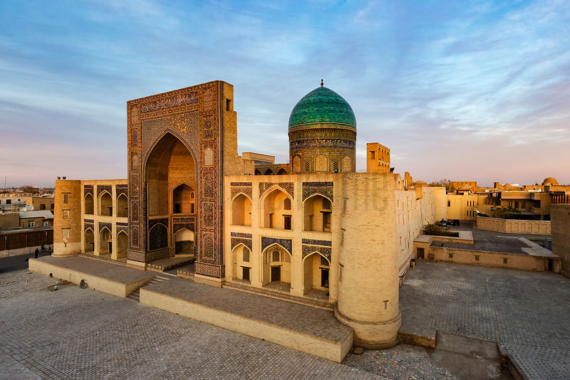 Elevated View of the Mir-I Arab Madrassah at Sunset