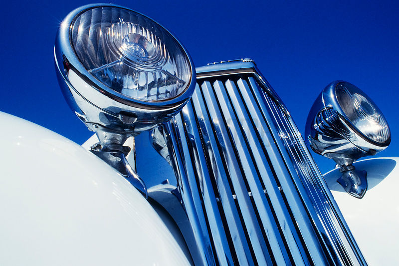 Radiator Grille and Headlights of Vintage Roadster