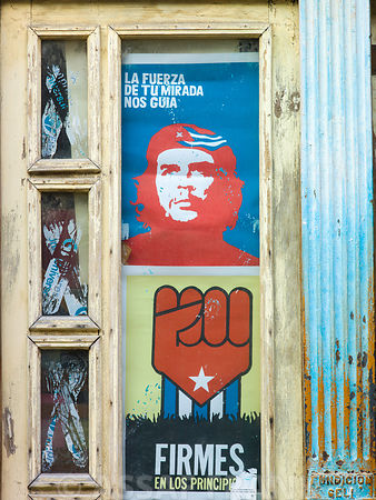 Che Guevara poster on window, Havana, Cuba