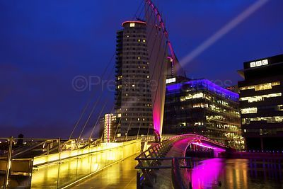 The Media CityUK Footbridge Provides a colourful Night-time Entrance to the Media City Piazza