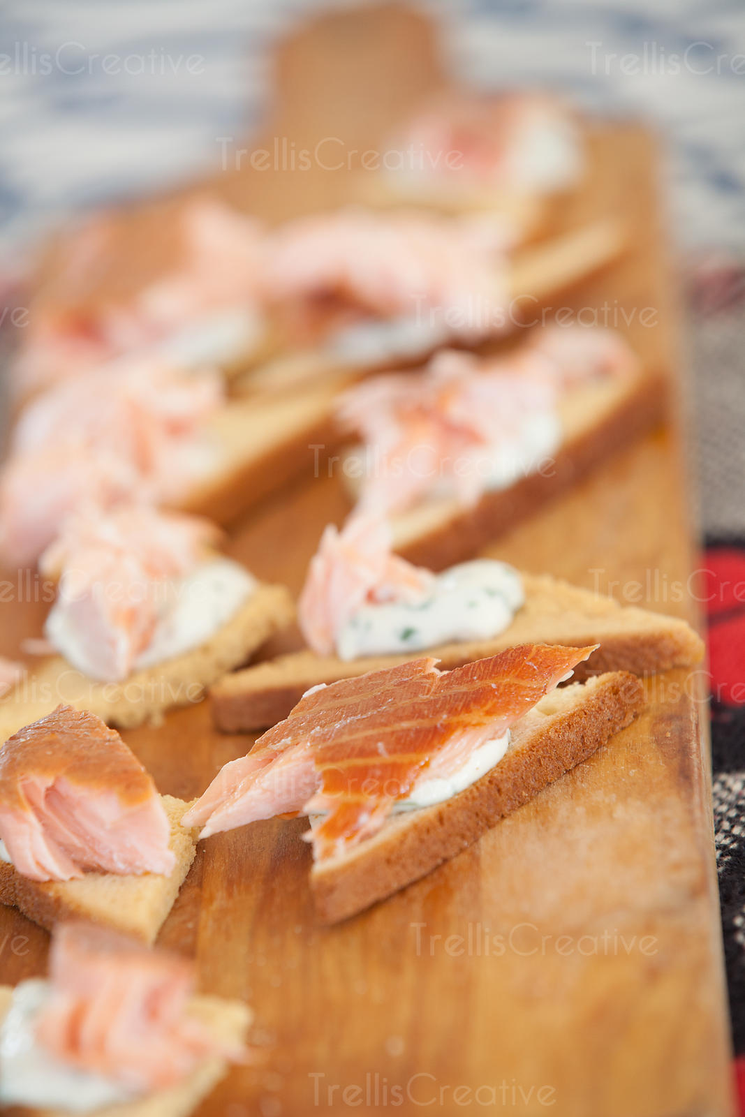 Delicious pieces of smoked salmon on crostini appetizers