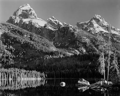 Grand Teton, Mount Owen, and Teewinot from Badley Lake, Grand Teton National Park, Wyoming