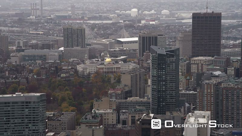 Orbiting High-rises in Downtown Boston, Capitol Building in Distance. Shot in November
