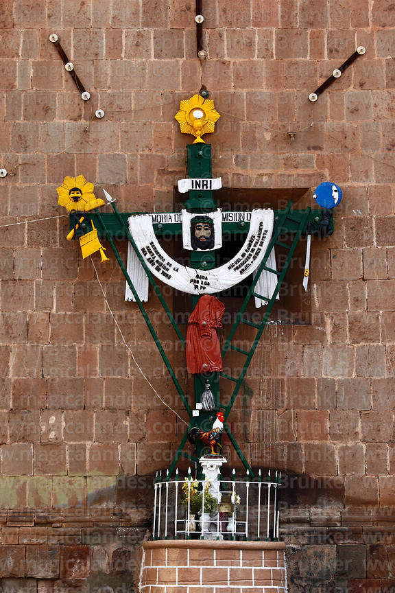 Arma Christi / Arms of Christ cross outside Puno cathedral , Peru