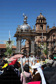 Silver Custodia and crowds in front of Compañia de Jesus church , Corpus Christi festival , Plaza de Armas , Cusco , Peru