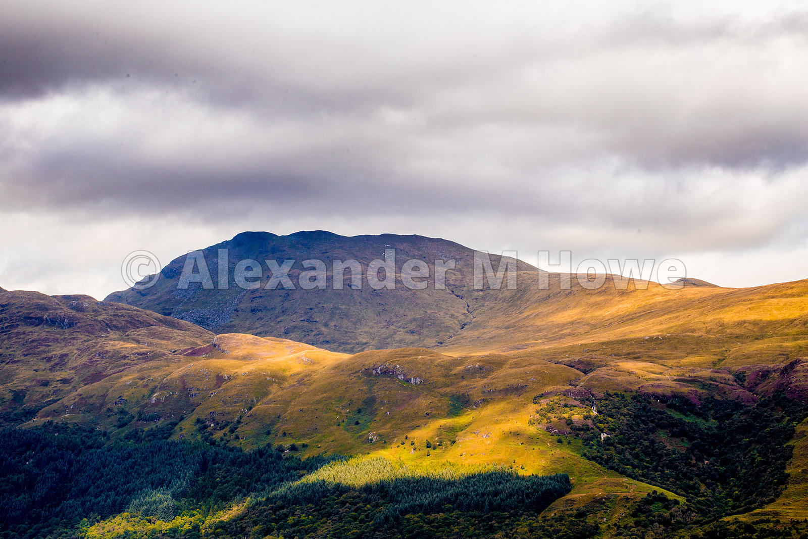 Contours and Light on Hills Around Loch Lomond Scotland