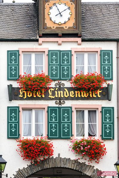 Detail of facade of typical building, Rudesheim, Germany