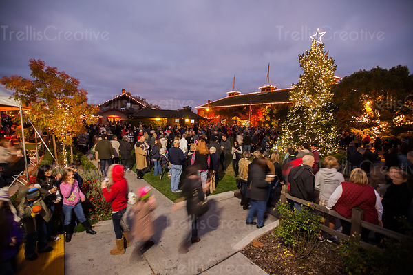 The annual Festival of Lights Celebration and Tree lighting draws visitors to Yountville, California