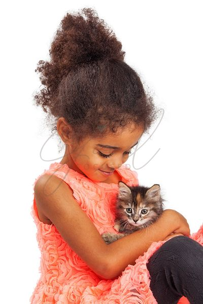 Happy Little Girl With Kitten on White