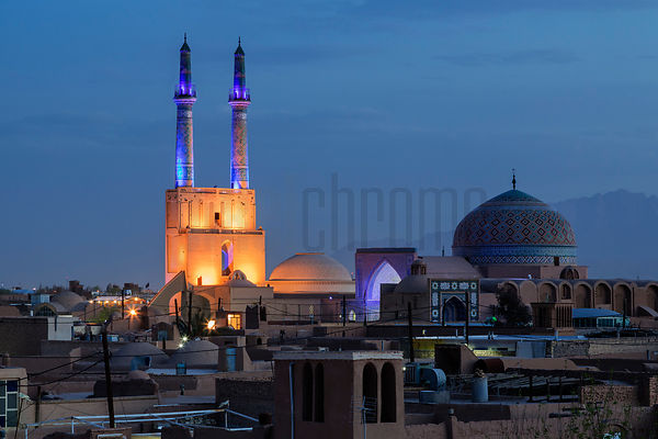 Elevated View of Masjid-i Jami'-i Yazd or Friday Mosque at Dusk