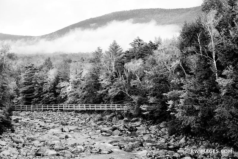 BRIDGE MOUNTAIN RIVER NEAR KANCAMAGUS HIGHWAY WHITE MOUNTAINS NEW HAMPSHIRE BLACK AND WHITE