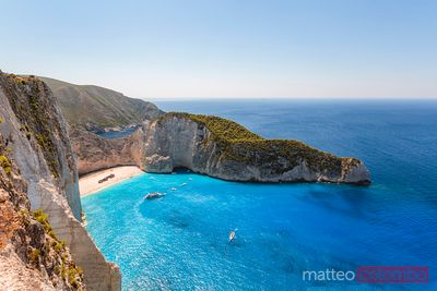 Elevated view of famous shipwreck beach. Zakynthos, Greek Islands, Greece