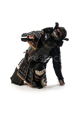 An injured Samurai warrior on the ground - shot from mid-level.