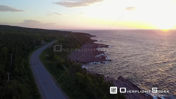 Cape Breton Nova Scotia Cabot Trail Sunrise Road and Car