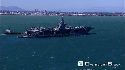 Aerial of an Aircraft Carrier close to shore. Western Cape South Africa