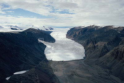 Aerial view of glacier at Sverdrup Pass, Ellesmere Island, Canadian Arctic. 1994.