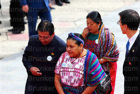 Guatemalan indigenous rights activist Rigoberta Menchú speaks with the Bolivian foerign minister David Choquehuanca during of...