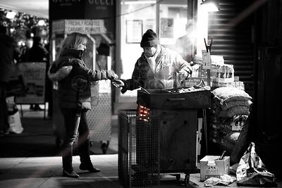 Hot Chestnut Seller in Oxford Street London at Night