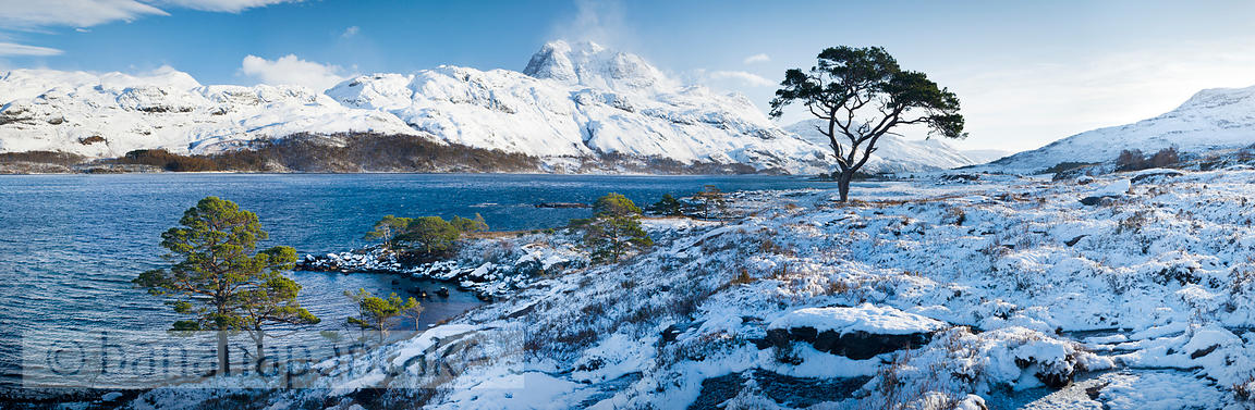 BP2295 - Panoramic view of Slioch, from Loch Maree, Winter
