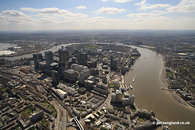 aerial photograph of the Isle of Dogs & Canary Wharf Docklands   London UK