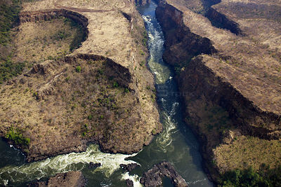 Aerial view of Batoka Gorge, Zambezi river downstream of Victoria Falls, Mosi-oa-Tunya / Victoria Falls UNESCO World Heritage...