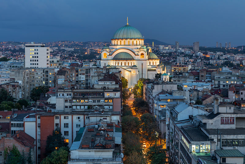 Elevated View of Saint Sava Cathedral at Dusk