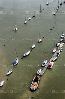 Rows of Boats on the Thames in London, England.