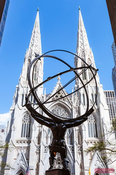 Statue of Atlas and  St. Patrick cathedral, Manhattan