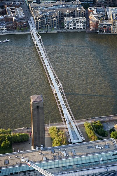 Aerial photograph of  Millennium Bridge, London, England