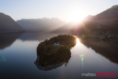 Aerial view of island at sunset on lake Como, Italy