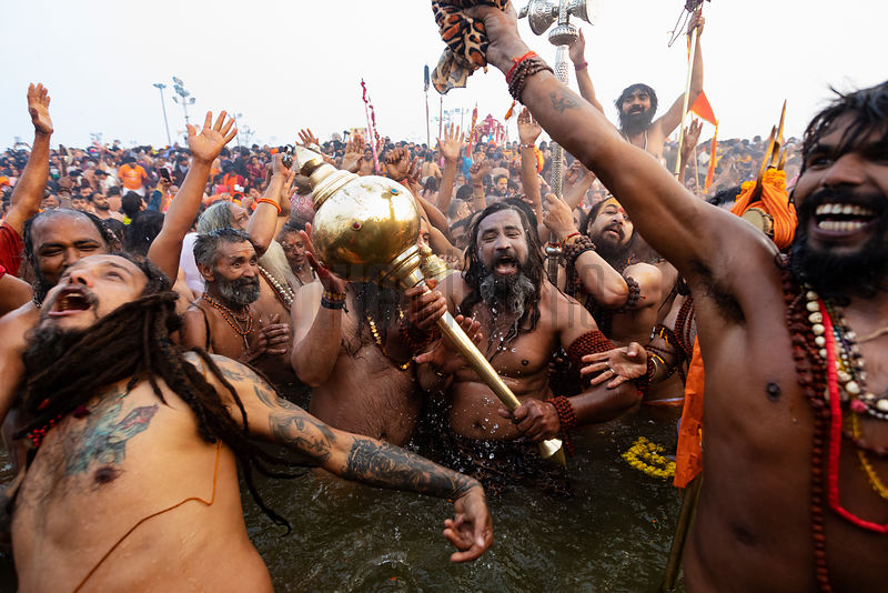 Naga Babas Taking a Holy Dip on the Royal Bathing Day Mauni Amavasya