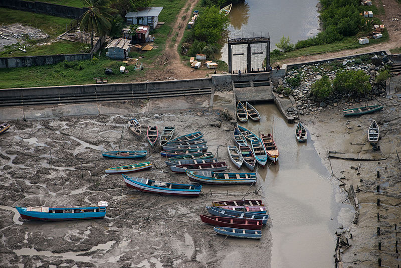Fishing boats in the Hope canal, an irrigation canal in East Demerara Water Conservancy, coastal Guyana, South America