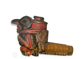 Tlingit pipe from Pacific NW of USA / pipes for smoking tobacco were introduced by early european traders and sometimes depic...