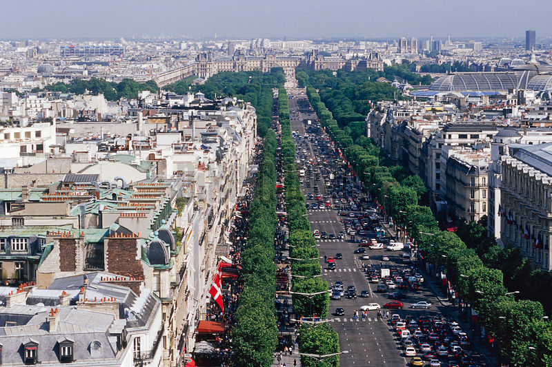 Overview of the Champs Elysees Paris, France