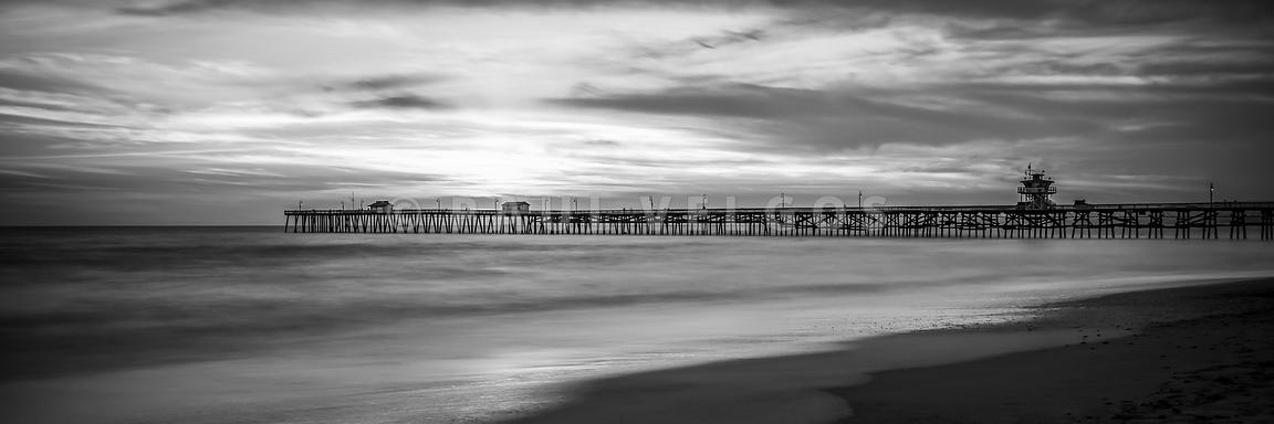 San Clemente Pier Black and White Panorama Photo