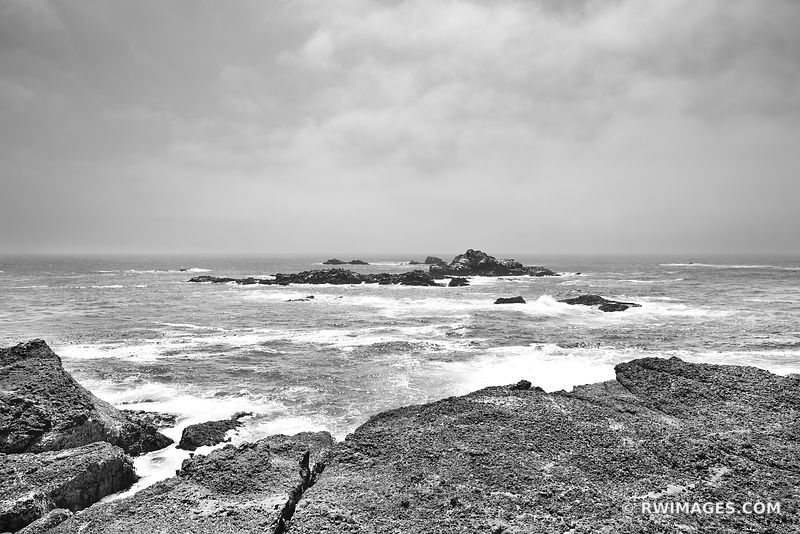 PACIFIC OCEAN POINT LOBOS CALIFORNIA BLACK AND WHITE