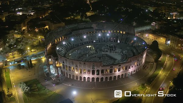 Night Drone Video Colosseum and Arch of Constantine Rome Italy