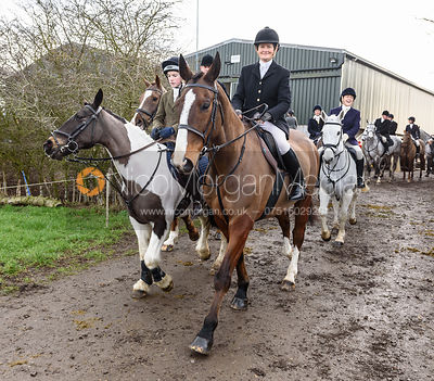 Bee Bell leaving the meet. The Cottesmore Hunt at Launde Park Farm