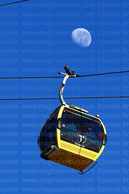Almost last quarter waning moon and Yellow Line cable car gondola, La Paz, Bolivia