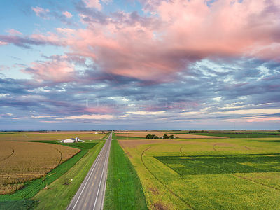 Farming Circles and Highway in Utica Nebraska