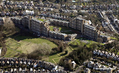 aerial photograph of Dawson's Heights in Dulwich London England UK showing Bredinghurst/Overhill Rd, London SE22 0PN  ,Dunsta...