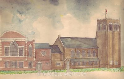 Pencil drawing from life of Abington Avenue Congregational Church (now Abington Avenue United Reformed Church) Northampton do...