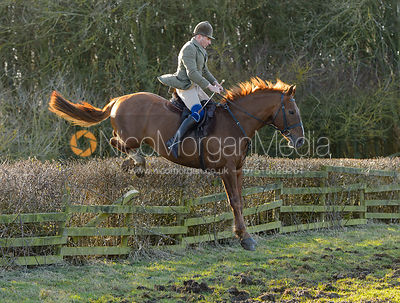 Bruce Langley McKim jumping a hedge at Town Park Farm - The Cottesmore at Town Park Farm