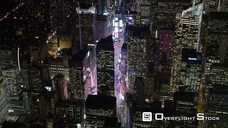 Flying Over Midtown Manhattan and Times Square at Night.