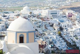 View of Fira with famous church Santorini Greece