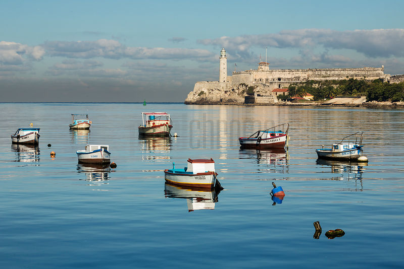 Fishing Boats Reflected in Havana Harbour