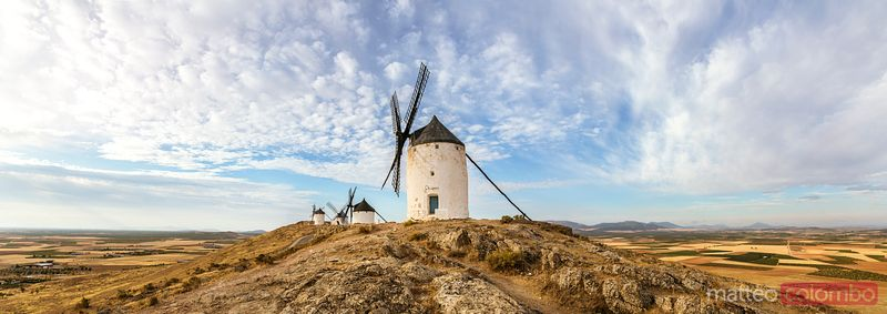 Panoramic of windmills on the Don Quixote route, Spain
