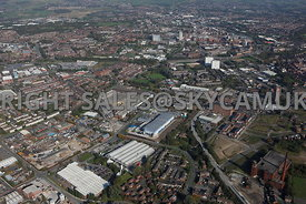 Oldham wide angle aerial photograph of waste recycling centre Arkwright Street and Lansdowne road area of Chadderton Oldham