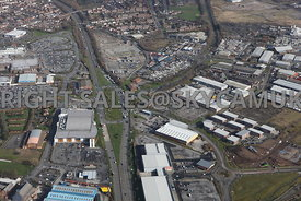 Widnes high level aerial photograph looking down  Ashley Way and the retail parks and development land either side of Ashley Way